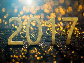 2017 Happy New Year With Gold Light Backgrounds