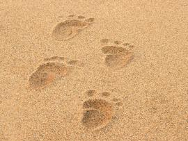 Baby Footprints On Beach Picture Backgrounds