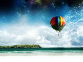 Blue Hot Air Balloons Art Backgrounds