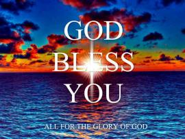 Blue Sea With God Bless You Text Graphic Backgrounds