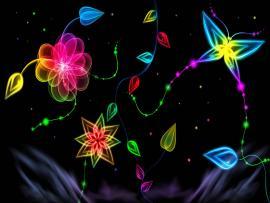 Butterflies and Flowers Neon Art Design Backgrounds