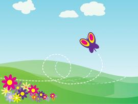 Cartoon Butterfly and Flowers PPT Clipart Backgrounds