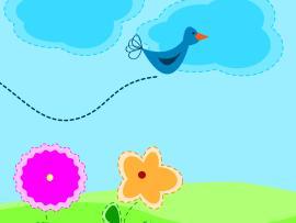 Cartoon Springs  Blue Cartoon  PPT Slides Backgrounds