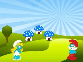 Cute Smurfs  Cartoon  PPT Clipart Backgrounds