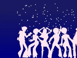 Dis Dancers For Party  Holiday Music  PPT Slides Backgrounds