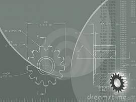 Engineering (ized) With Blueprint Of Gear Wheel Rule 3D   Slides Backgrounds