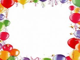 First Birthday Balloons Frame Slides Backgrounds