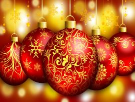 Gold Christmas Ornaments Photo Backgrounds