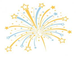 Gold Fireworks White Via Clipart Backgrounds
