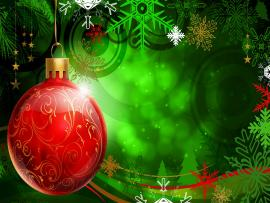 Green Christmas Ornament Red Frame Backgrounds