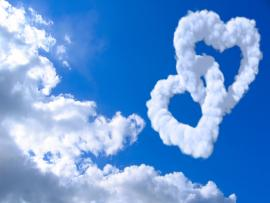 Hearts With Clouds and Blue Sky Presentation Backgrounds