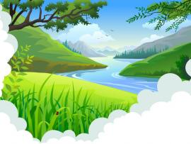 Landscape  Blue Design Green Nature  PPT Slides Backgrounds