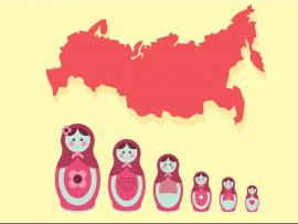 Matryoshka with Russia Map Backgrounds