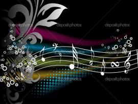 Musical note pattern with flowers Backgrounds