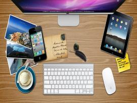 Office Apple Desk Graphic Backgrounds