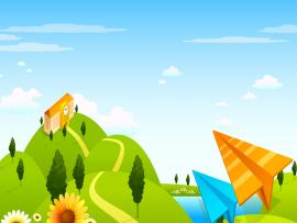 Outdoor child paper airplane clock house Backgrounds