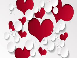 Red and White Love Heart Hd Backgrounds