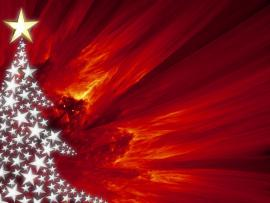 Red Christmas Tree For PowerPoint Presentations Template Backgrounds