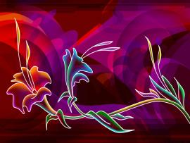 Red Flowers Neon Art Wallpaper Backgrounds