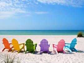 Summer Sea Beach and Chair Presentation Backgrounds