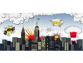 Superhero City Building Photography Studio Photo Backdrop   Graphic Backgrounds