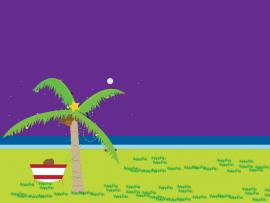 Tropical Ocean  Green Holiday Purple  PPT Presentation Backgrounds