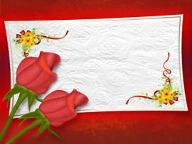 Two Rose With Wedding Frame Slides Backgrounds