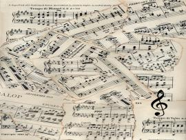 Vintage Sheet Music Patchwork Wallpaper Backgrounds