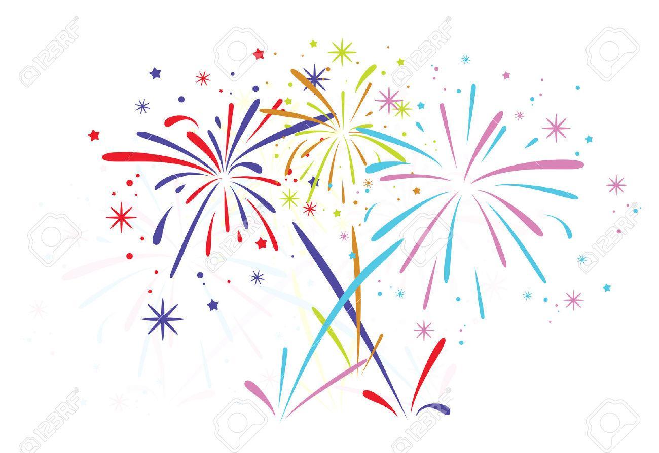 Black Fireworks White Vector Clip Art PPT Backgrounds