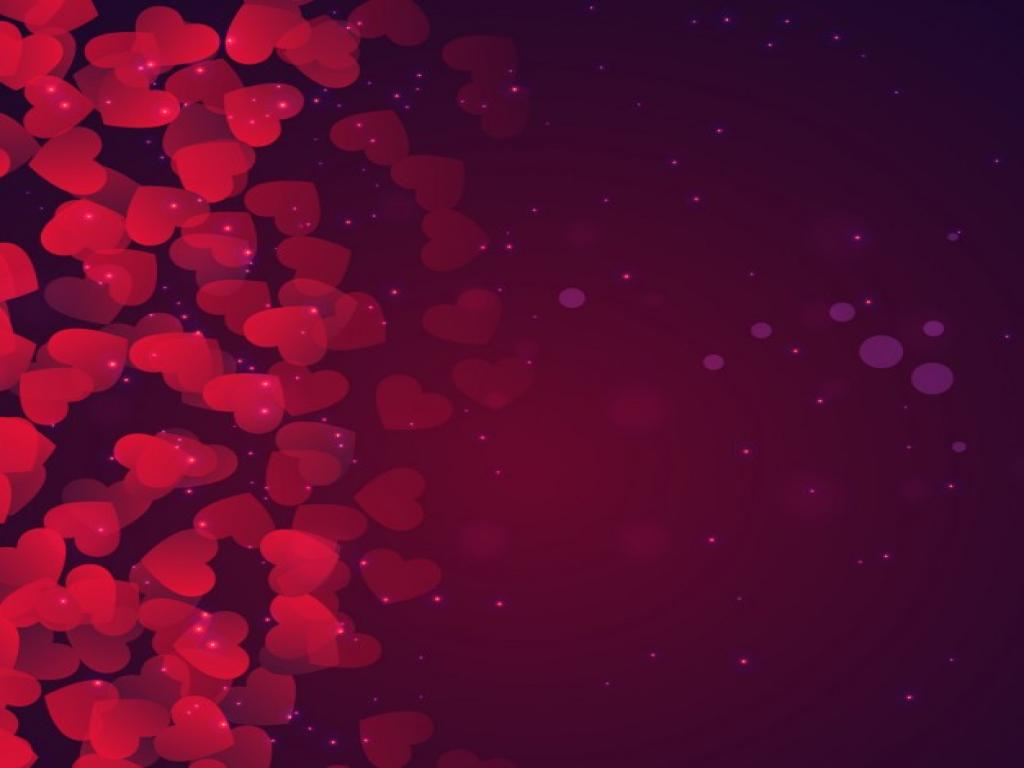 Bokeh Valentines Day In Purple Tones Vector  Free Design PPT Backgrounds