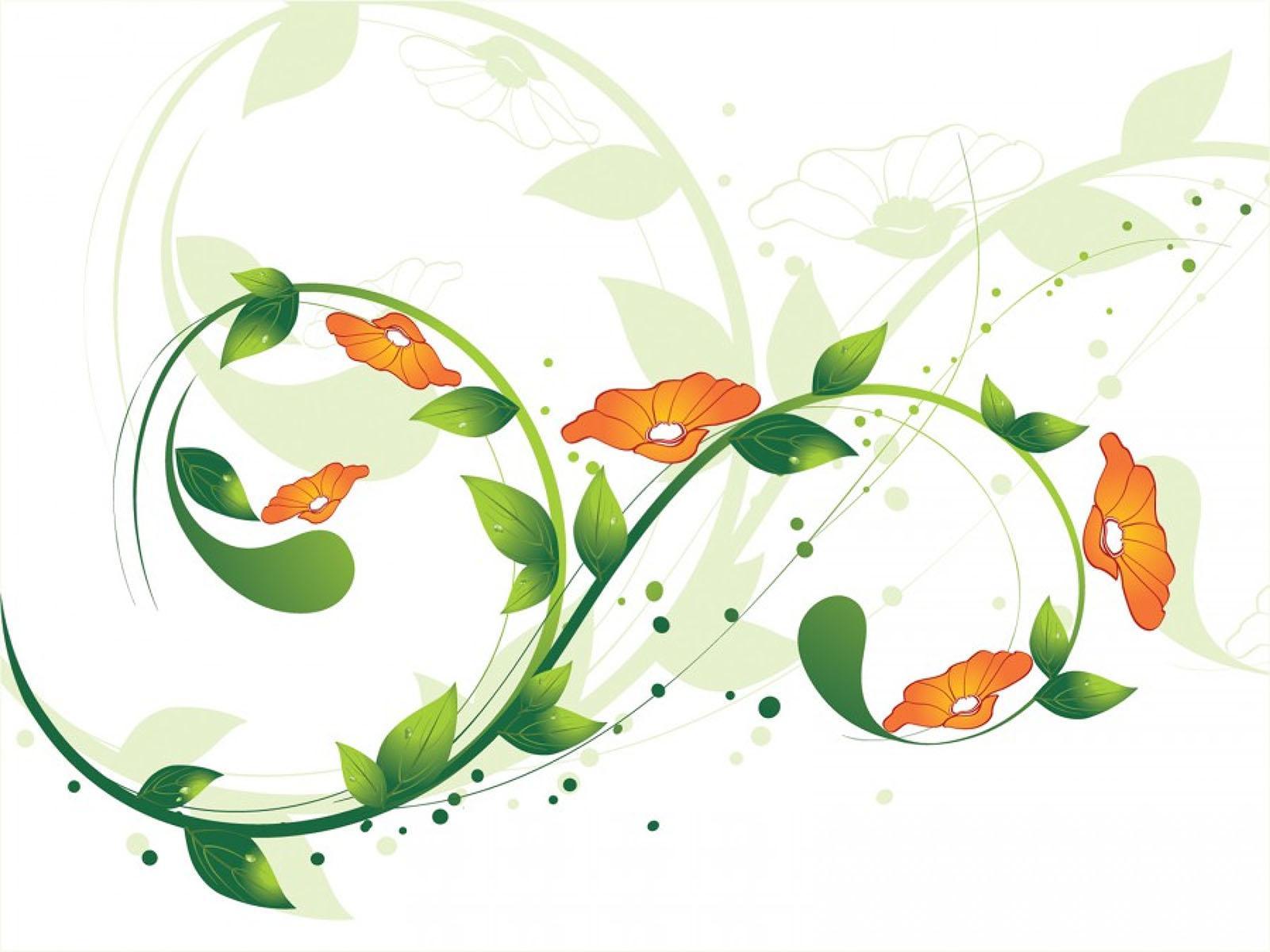Green Flower Swirls PPT Backgrounds