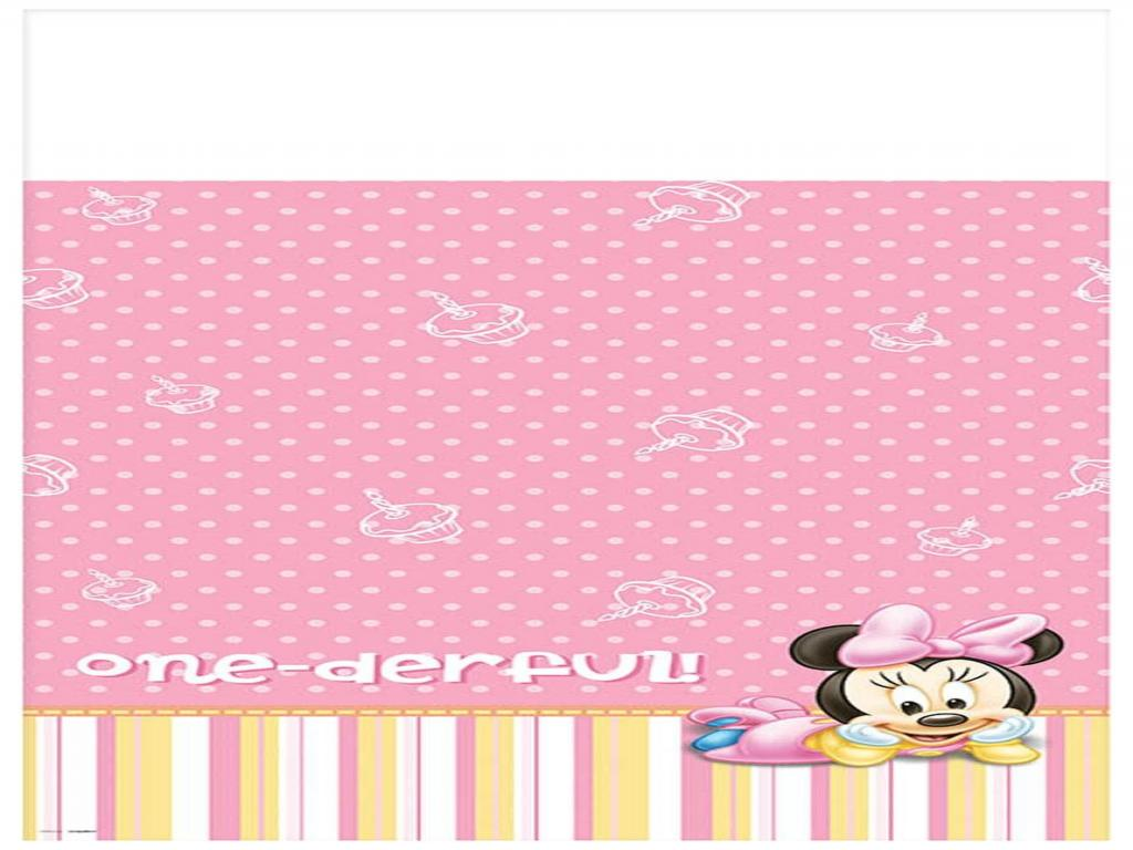 Minnie Mouse 1st Birthday Frame PPT Backgrounds
