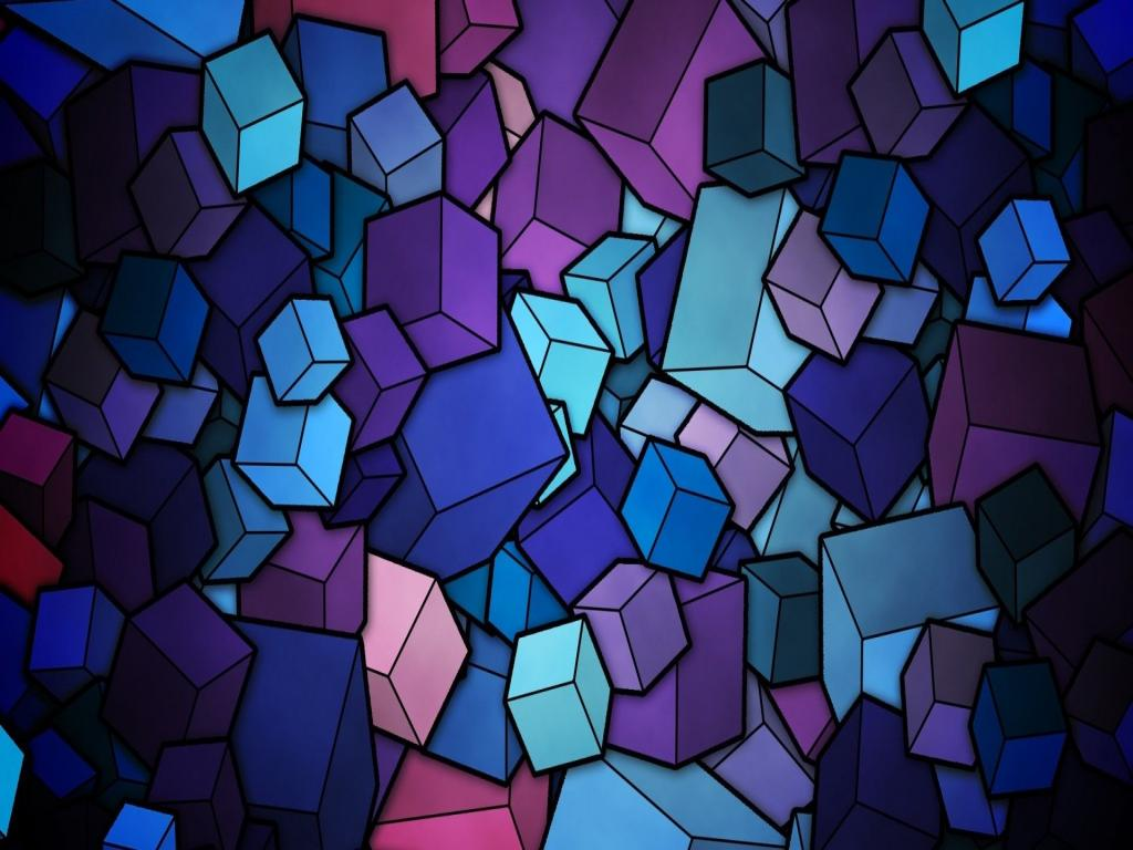 Stained Glass Geometry Cubes Hd Frame PPT Backgrounds