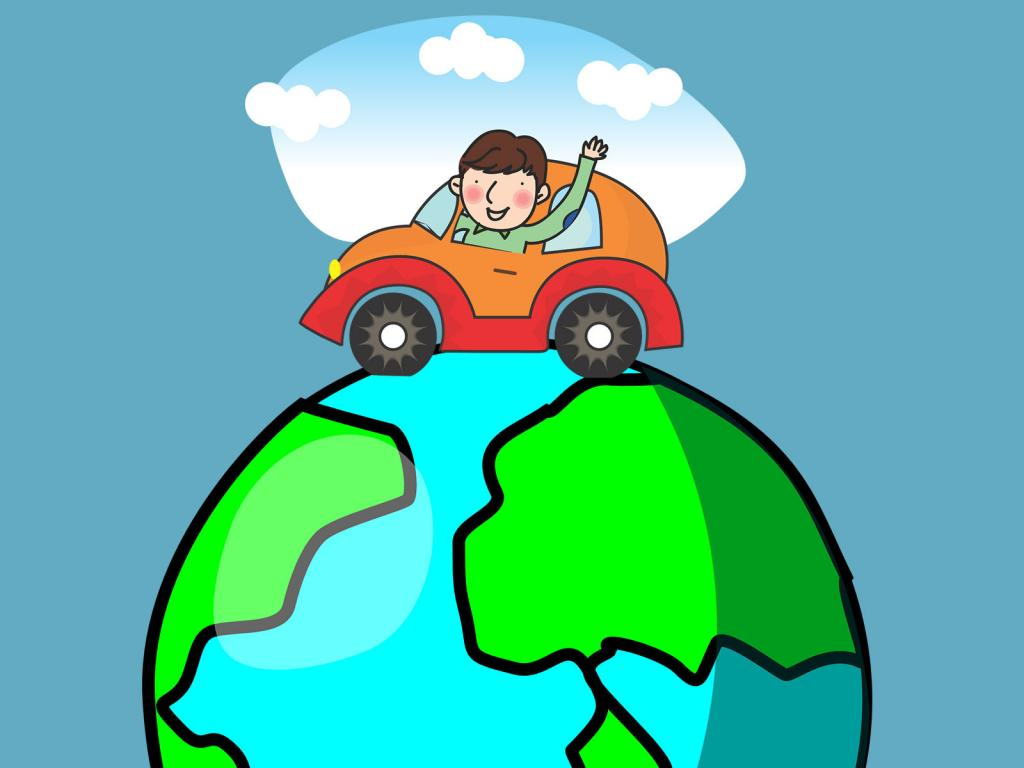 World Holiday with Car PPT Backgrounds