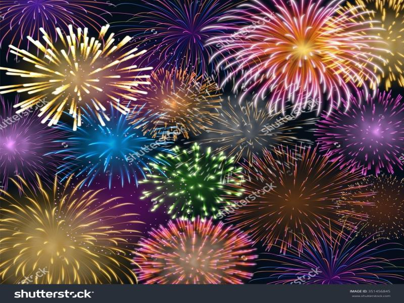 Background with Colorful Fireworks Backgrounds