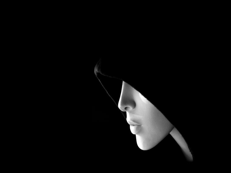 Black Mysterious Female Face Art Backgrounds