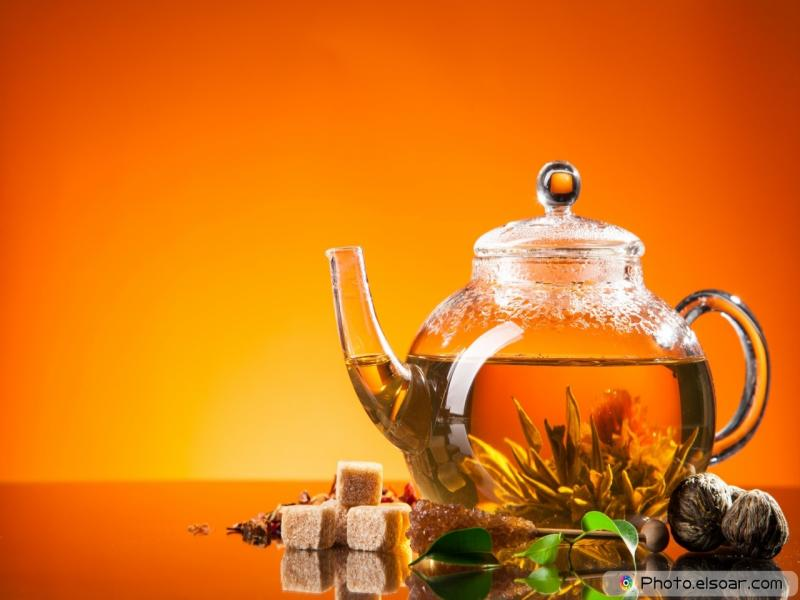 Blooming Tea On Orange Backgrounds