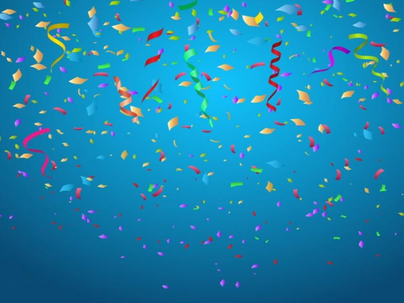 blue confetti celebration image backgrounds for powerpoint