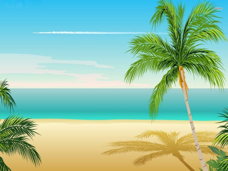 Cartoon Beach Palm Tree Download Backgrounds