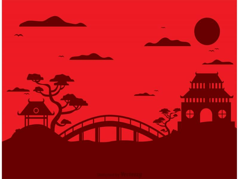 chinese temple landscape vector free vector art backgrounds for