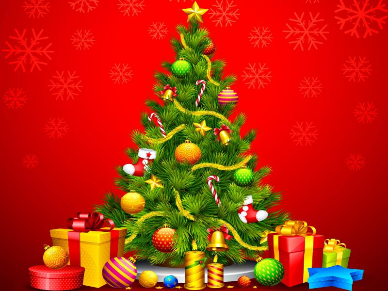 Christmas Tree Fireplace Backgrounds