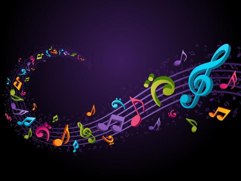 Colorful Music Notes Background 1 HDs   Art Backgrounds