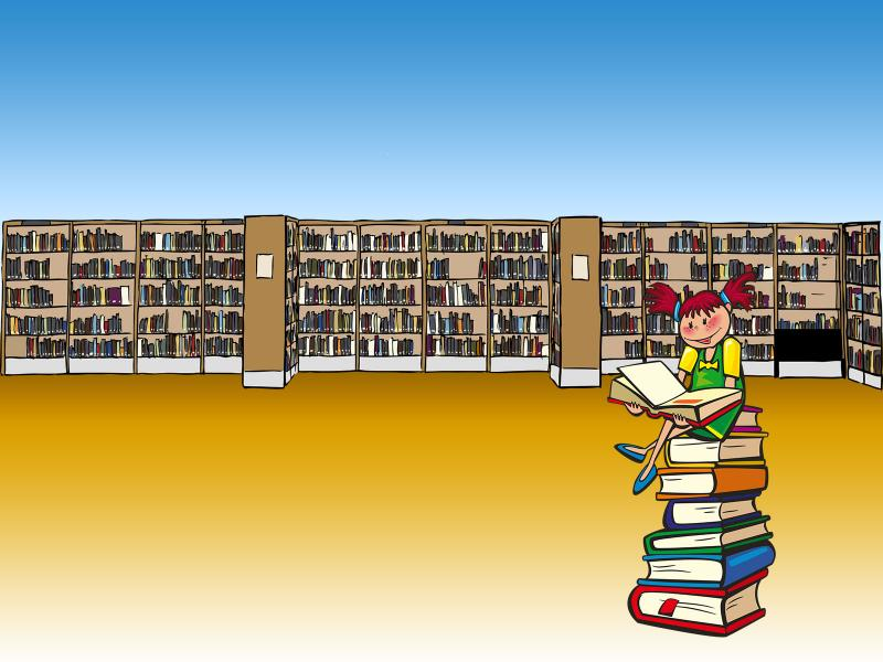 Cute Girl at the Library Backgrounds