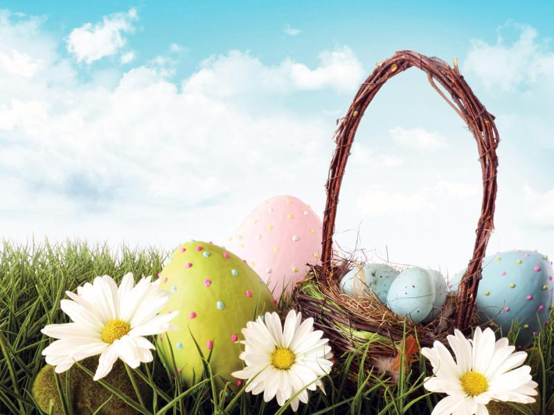 Easter Eggs With Flowers Nature Ppt Template Backgrounds For