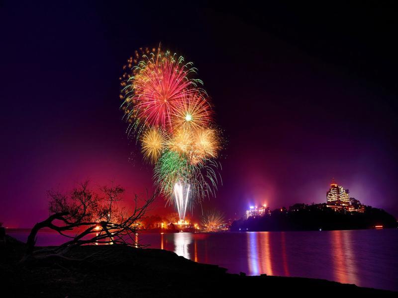 Fireworks City Night Backgrounds