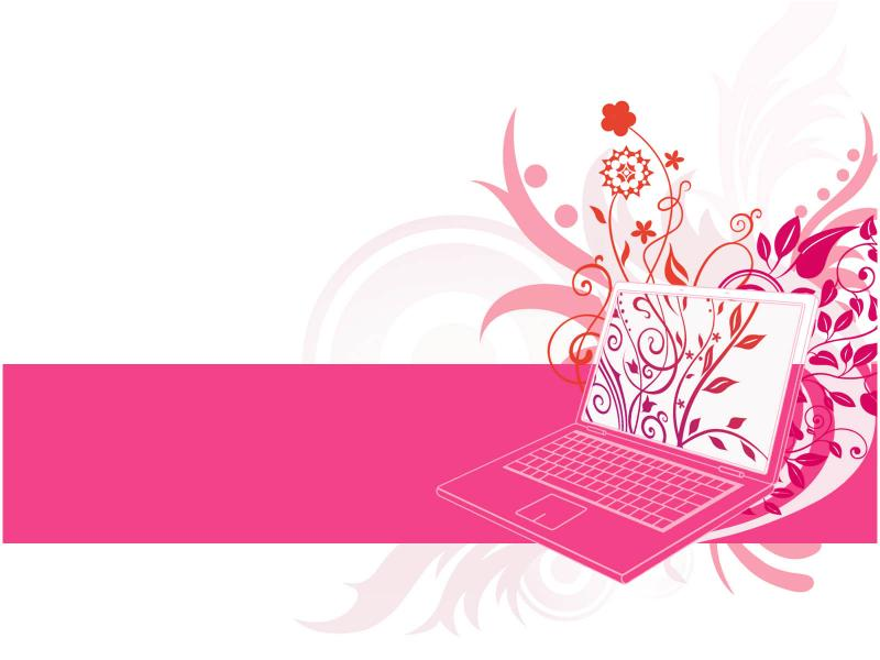Floral Laptop Design  PPT Templates Picture Backgrounds
