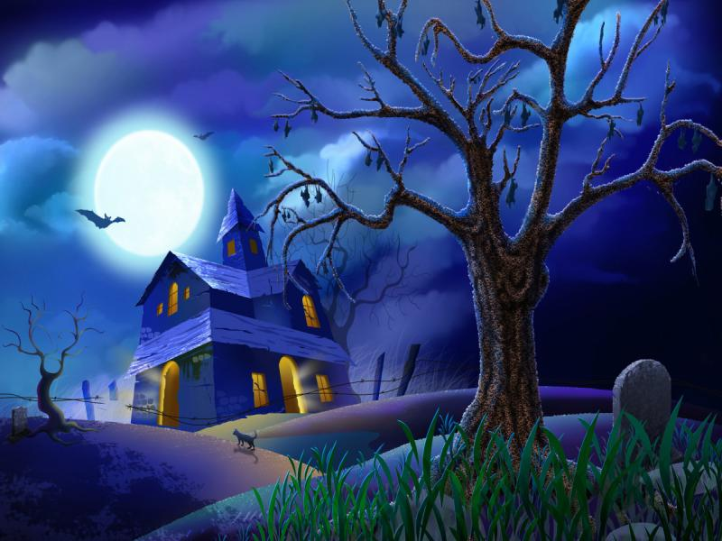 Halloween House Backgrounds