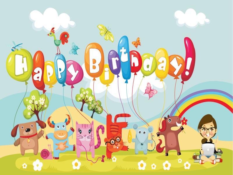 Happy birthday animal baby rainbow PPT Backgrounds