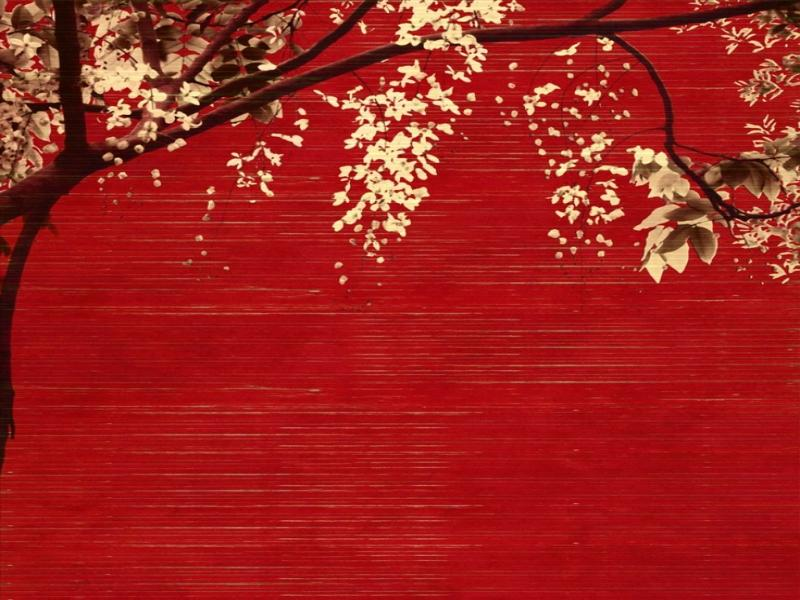 Japanese Red Trees Backgrounds For Powerpoint Templates