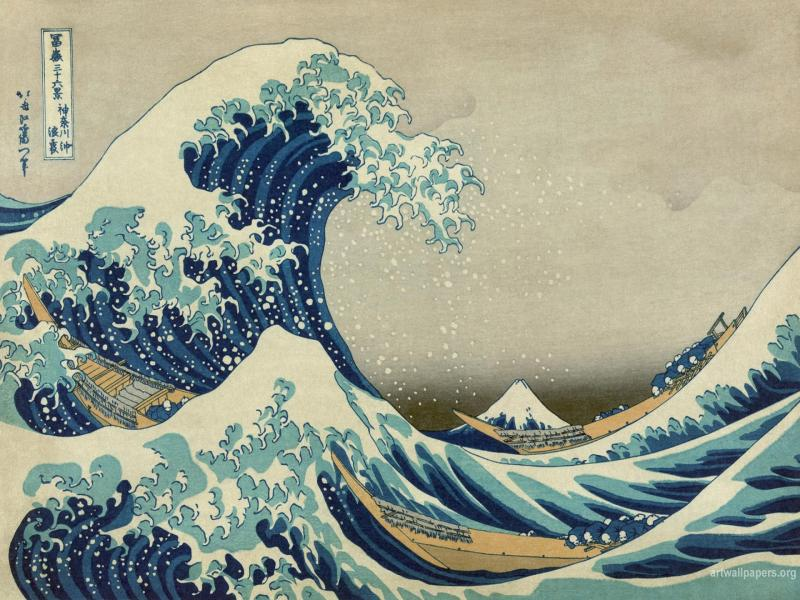Japanese Wavy Sea Image Backgrounds For Powerpoint Templates